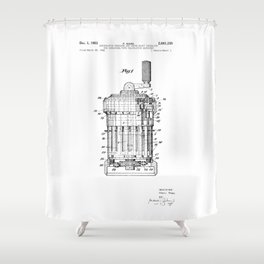 Curta Mechanical Calculator Patent Drawing Shower Curtain
