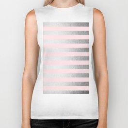 Stripes Moonlight Silver on Flamingo Pink Biker Tank