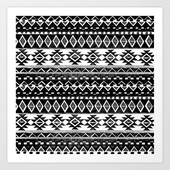 TRIBAL MONOCHROME Art Print