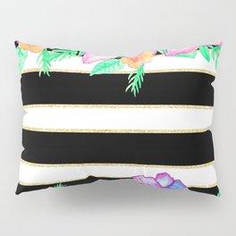 Stylish black white gold stripes floral monogram  Pillow Sham