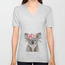 Baby Koala with Flower Crown Unisex V-Neck