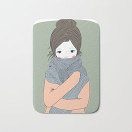 cute winter girl.Beautiful young girl hugging her French scolded himself during the winter. She may Bath Mat