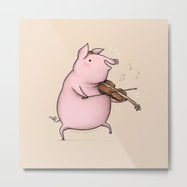 Piggy on the Fiddle Metal Print