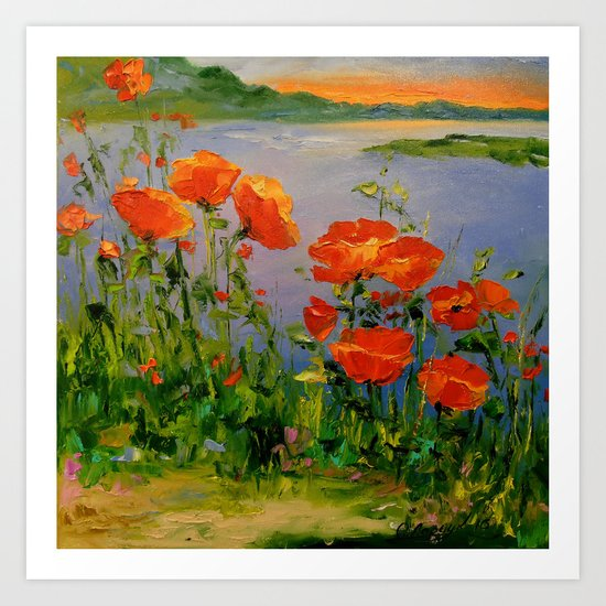 Poppies near the river Art Print