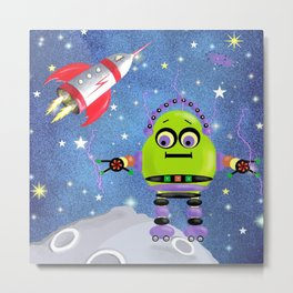 Green Robot in Space Metal Print