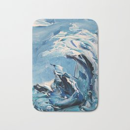 Rough Sea Wave Bath Mat