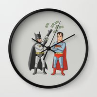 superheros Wall Clocks featuring Super Rich by Ian Byers