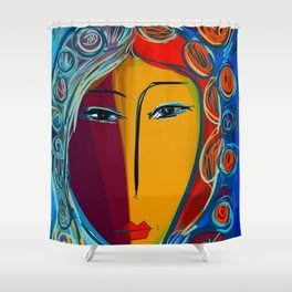 In the light of the night Portrait Expressionist Fauvist Shower Curtain