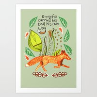 sayings Art Prints featuring Every Fox...fox, sayings, typography, quote, nature, leaves by Slumbermonkey Designs