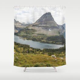 Overlooking Hidden Lake and BearHat Mountain Shower Curtain