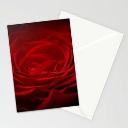 Deep Red Blood Rose On Black Stationery Cards