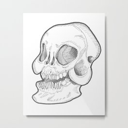 Black and white happy smiley Skull Metal Print