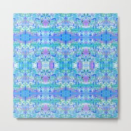 Almost Gingham Check Watercolor Abstract Pattern - Blue & Lilac Metal Print