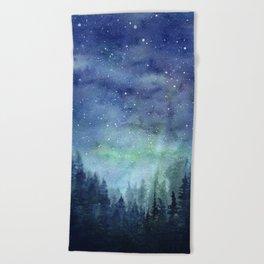 Watercolor Galaxy Nebula Northern Lights Painting Beach Towel