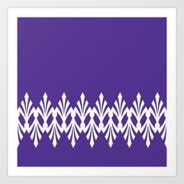 Art Deco Plumes on Purple Art Print