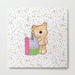 Happy Birthday Bear 1 year old Metal Print