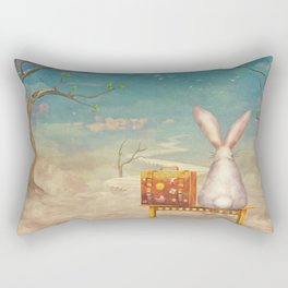 Sad rabbit  with suitcase sitting on the bench on the cloud in sky  Rectangular Pillow