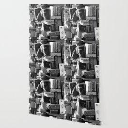 TOWER OF LUGGAGE in Black & White Wallpaper