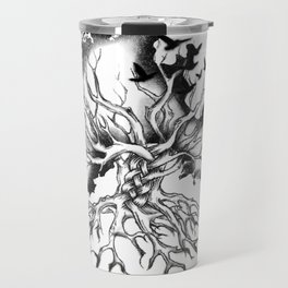 Hand designed Celtic pattern tree with knots and crows Travel Mug