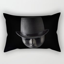 Black mask face wearing black top hat isolated on black background  Rectangular Pillow