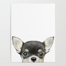 Chihuahua mix color Dog illustration original painting print Poster