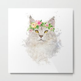 Boho cat portrait with flower crown Metal Print