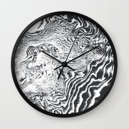 Miro - spilled ink black and white minimal modern topography japanese marble marbling Wall Clock