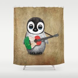 Baby Penguin Playing Italian Flag Guitar Shower Curtain