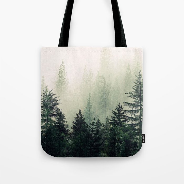Foggy Pine Trees Tote Bag