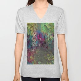 Corroded Purple Green and Blue Abstract Unisex V-Neck