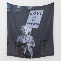 banksy Wall Tapestries featuring Love is the Answer by The Dreamery