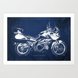 20-2012 Suzuki V-Strom 1000 SE, blueprint motorcycle, man cave decoration Art Print