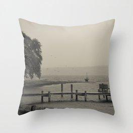 Moody Harbor Throw Pillow
