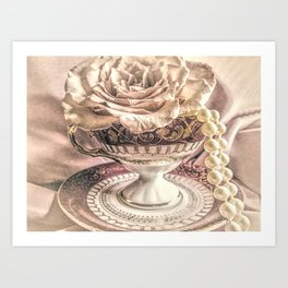Rose Pearls Teacup Still Life Modern Cottage Chic Decor Art Matted Picture A466 Art Print