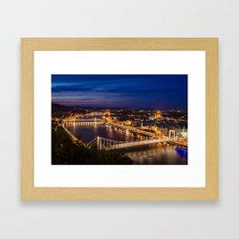 Budapest lit in artificial lights after sunset Framed Art Print