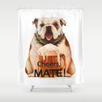 bulldog Shower Curtains featuring Bulldog by Jinwoo Kim