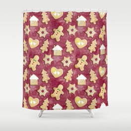 Gingerbread Christmas Cookies Shower Curtain