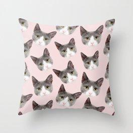 girly cute pink pattern snowshoe cat Throw Pillow