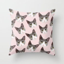 girly cute pink pattern snowshoe cat Throw Pillow