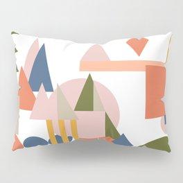 Folksy Geometric Abstract Landscape Pillow Sham