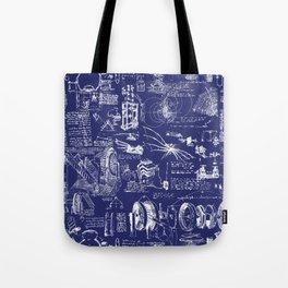 Da Vinci's Sketchbook // Dark Blue Tote Bag