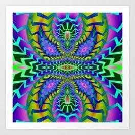 Tribal Rainbow Lotus Art Print