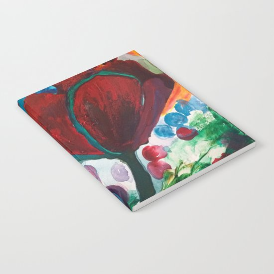 Blue High Poppies on Fire Notebook