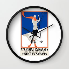 1922 Sainte-Croix Switzerland Ski Travel Poster Wall Clock