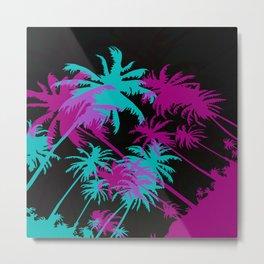 California Palm Trees at Night  Metal Print
