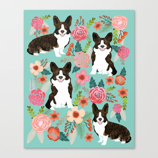 Brindle Cardigan Corgi Florals - cute corgi design, corgi owners will love this mint florals corgi Canvas Print