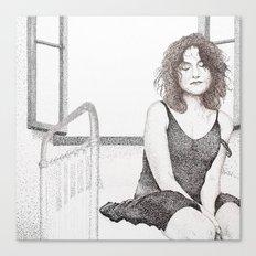 closed eyes - woman dotwork portrait Canvas Print