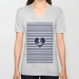 Modern navy blue white heart anchor nautical stripes Unisex V-Neck