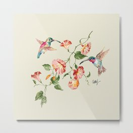 hummingbirds & morning glories Metal Print