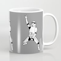 storm trooper Mugs featuring Storm Trooper Rock On! by Double Dot Designs